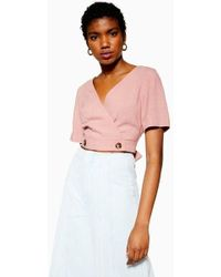 55028223c0e TOPSHOP Drape Front Blouse in Pink - Lyst