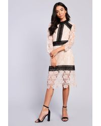 Glamorous - Lace Trim Midi Shift Dress By - Lyst