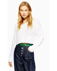 TOPSHOP - V Cropped Cable Jumper - Lyst