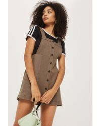 TOPSHOP - Heritage Checked Pinafore Dress - Lyst