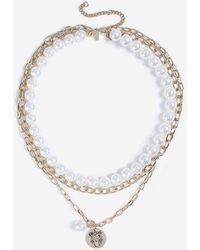 TOPSHOP - pearl And Coin Multirow Necklace - Lyst