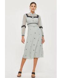 TOPSHOP - Western Trim Midi Dress - Lyst