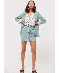 TOPSHOP - Linen Button Paperbag Skirt - Lyst