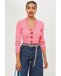 TOPSHOP - Check Cropped Cardigan - Lyst