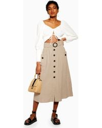c15a2a73ef TOPSHOP - Belted Button Midi Skirt With Linen - Lyst