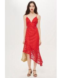 TOPSHOP - Lace Plunge Asymmetrical Hem Dress - Lyst