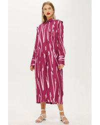 TOPSHOP - Squiggle Split Shirt Dress By Boutique - Lyst