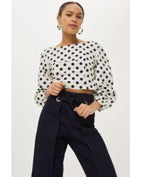 TOPSHOP - Petite Waist Tie Cropped Wide Leg Jeans - Lyst
