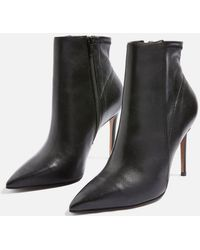 TOPSHOP - Hoochie Leather Ankle Boots - Lyst