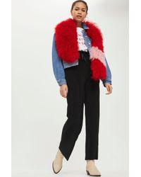 TOPSHOP | Tall Ruffle Waist Plisse Trousers | Lyst