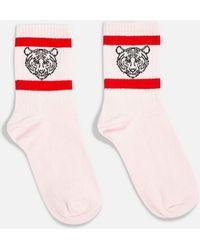 TOPSHOP - Tiger Embroidered Tube Socks - Lyst