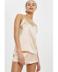 TOPSHOP - Embroidered Satin Pyjama Set - Lyst