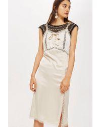 TOPSHOP - Bow Diamante Midi Dress - Lyst
