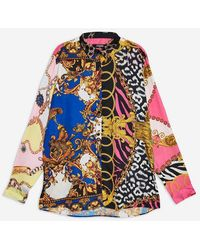Jaded London - oversized Scarf Print Shirt By - Lyst
