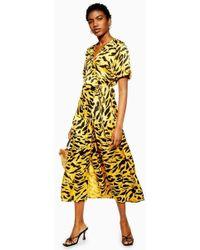 TOPSHOP - Jacquard Animal Midi Dress - Lyst