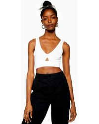 a549b0ac39 TOPSHOP Tall Lace Up Front Bralet in Black - Lyst