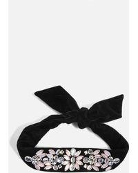 TOPSHOP - Black Embellished Gem Necktie - Lyst