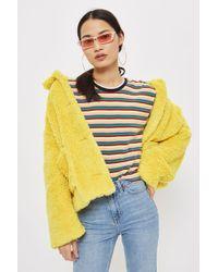 TOPSHOP - Petite Long Sleeve Rainbow T-shirt - Lyst