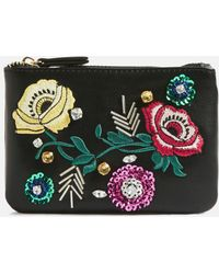 TOPSHOP - Black Floral Embroidered Zip Top Purse - Lyst