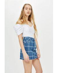 TOPSHOP - Checked Denim Skirt - Lyst