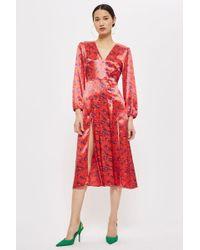 TOPSHOP - Wispy Floral Print Midi Skater Dress - Lyst
