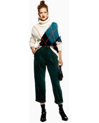 TOPSHOP - Corduroy Peg Trousers - Lyst