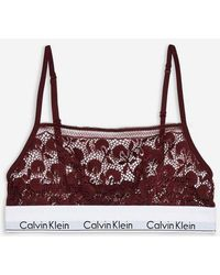 Calvin Klein - Red Lace Bralet By - Lyst