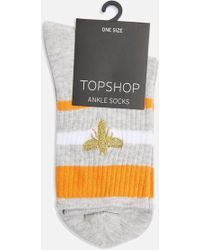 TOPSHOP - Embroidered Bee Tube Socks - Lyst