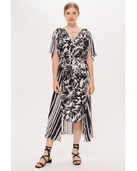 TOPSHOP - Palm Print And Striped Dress By Boutique - Lyst
