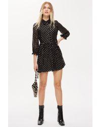 Lyst - TOPSHOP Zebra Print Shirt Dress in Black f070516cd