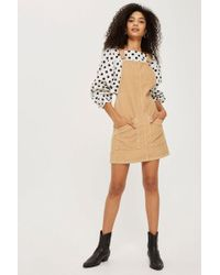 TOPSHOP - Tall Cord Pocket Pinafore Dress - Lyst