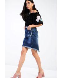 Glamorous - Distressed Denim Skirt By Petite - Lyst