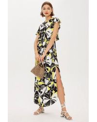 TOPSHOP - Floral Print Deconstructed Midi Dress - Lyst