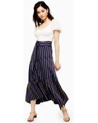 8ab71d1302 TOPSHOP - Stripe Tiered Maxi Skirt - Lyst