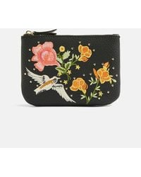 TOPSHOP - Black Holly Bird Embroidered Zip Top Purse - Lyst