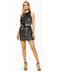 TOPSHOP - Animal Sequin Mini Dress - Lyst