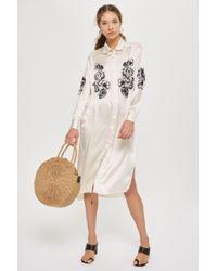 TOPSHOP - Rodeo Satin Shirt Dress - Lyst