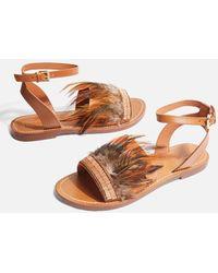 TOPSHOP - Firework Feather Sandals - Lyst