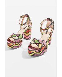 TOPSHOP - Leah Cross Strap Platform Heel Sandals - Lyst