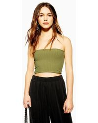 e551a0e7b57ea1 TOPSHOP Tall Ribbed Cropped Cami in Gray - Lyst