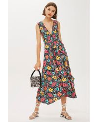 TOPSHOP - 80s Floral Pinafore Dress - Lyst