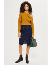 TOPSHOP - Cashmere Off Shoulder Cropped Jumper - Lyst