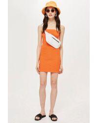 TOPSHOP - Textured Bandeau Dress - Lyst