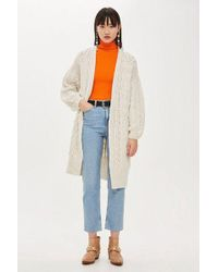 TOPSHOP - Cable Knit Longline Cardigan - Lyst