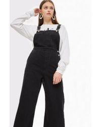 TOPSHOP - Cropped Wide Leg Dungarees - Lyst