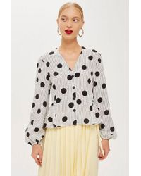 TOPSHOP - Spotted Jacquard Wrap Blouse - Lyst