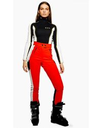 TOPSHOP - red Colour Block Trousers By Sno - Lyst