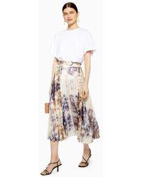 TOPSHOP - Tie Dye Pleat Midi Skirt - Lyst