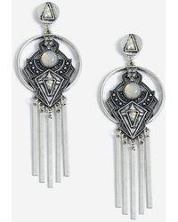 TOPSHOP - Engraved Stick Drop Earrings - Lyst