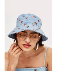 TOPSHOP - Embroidered Cherry Bucket Hat - Lyst